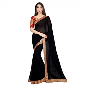 Anand Sarees Black Solid Jacquard Boat Neck Chiffon Saree With Blouse Piece