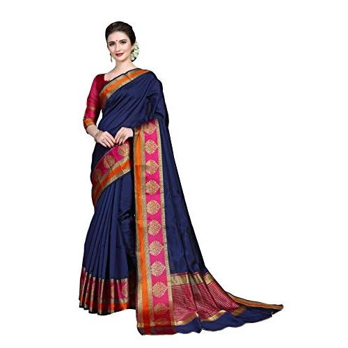 COTTON SHOPY Dark Blue Banarasi Art Silk Saree With Unstitched Blouse Piece