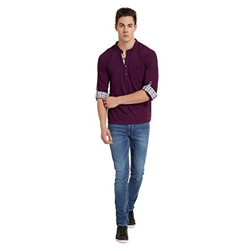 Elaborado EOTR1062IP5 Purple Cotton Solid Henley Neck Tshirt