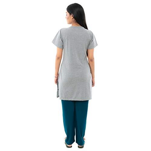 Duchess Grey Cotton Long Length Night Suit Set