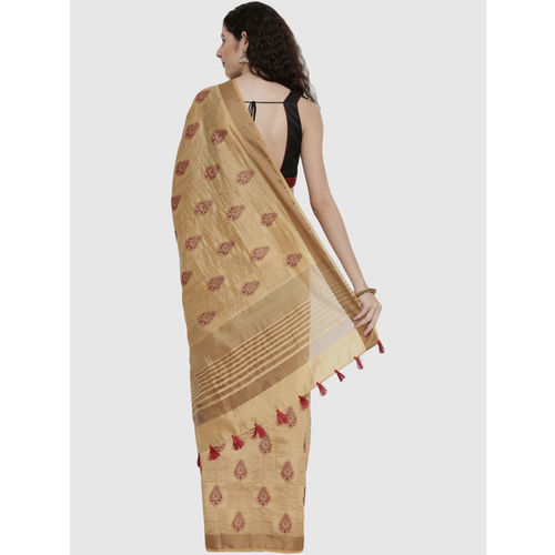 The Chennai Silks Beige Embroidered Saree With Blouse