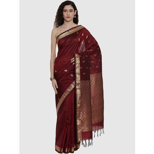 The Chennai Silks Maroon Zari Work Saree With Blouse