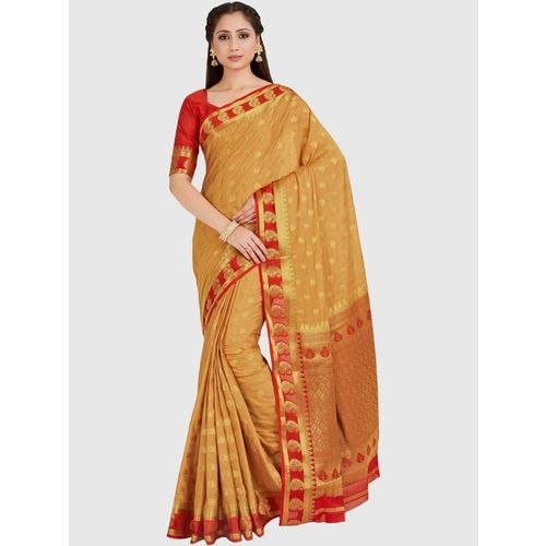 Mimosa Brown Zari Work Mysore Silk Saree With Blouse