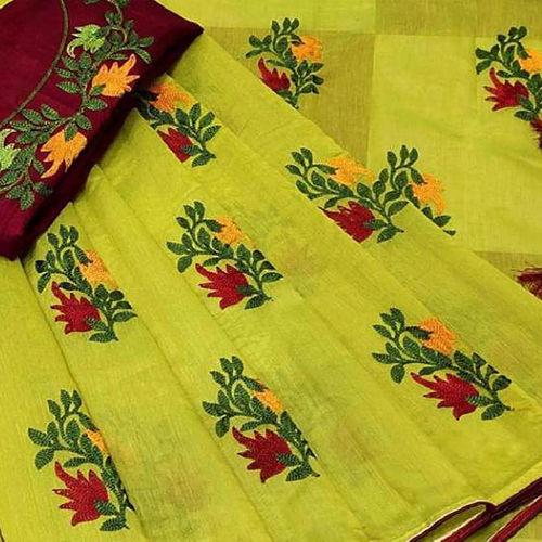 Party Wear Heavy Chanderi Cotton Silk Embroidred Saree