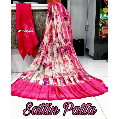 Meia Designer Georgette Satin Patta Border Saree With Blouse