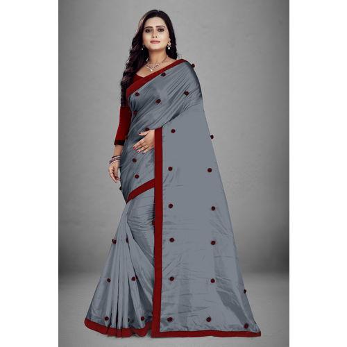 Meia Designer Plan Paper Silk Pumpum Work Saree