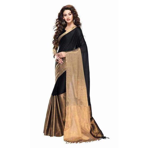 Indian Fashionista Black Cotton Plain Saree With Blouse