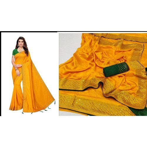 Meia Paper Silk Hot Fix Work Saree With Blouse Piece
