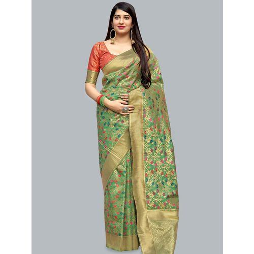 MANOHARI self design banarasi silk saree with blouse