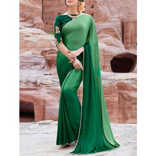 shaily contrast lace ombre saree with blouse