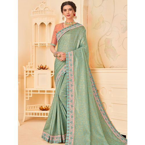 Indian Women By Bahubali turquoise silk blend bordered saree with blouse