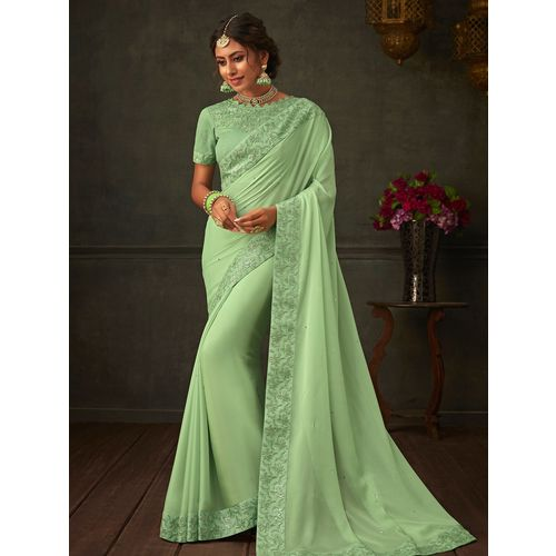 Indian Women By Bahubali solid embroidered saree with blouse