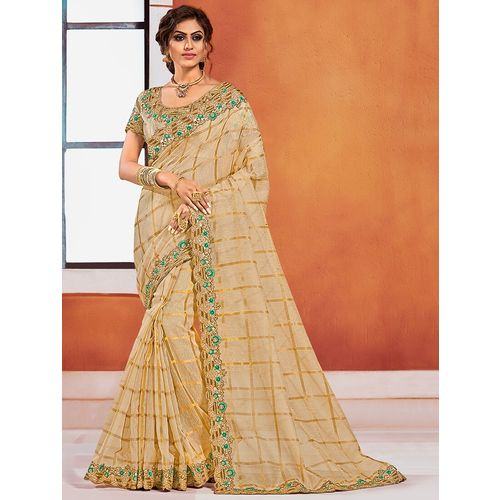 Indian Women By Bahubali checkered embroidered saree with blouse