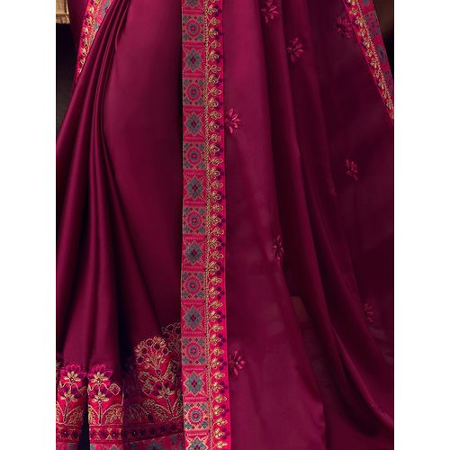 Indian Women By Bahubali burgundy silk blend embroidered saree with blouse