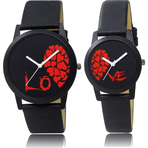FERRIZZO 71-171 Slim Couple Watch With Half Love Dial Men & Women Analog Watch - For Couple
