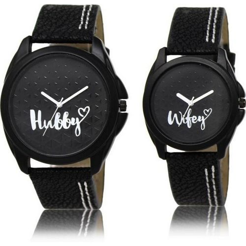 LOREM FZ-31-234 Couple Watches With Attractive Hubby & Wifey Black Leather Analog Watch - For Couple