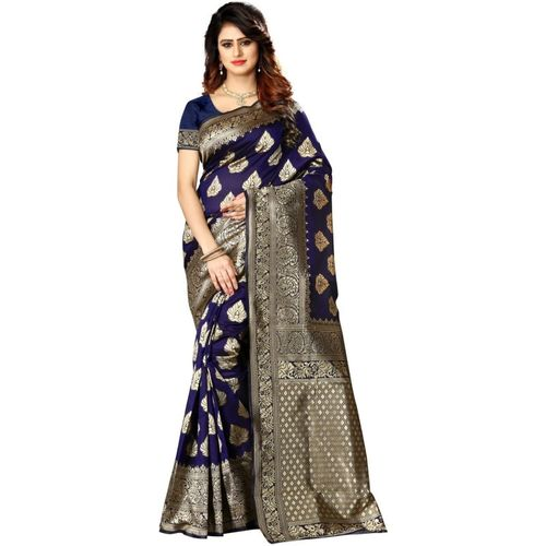 shoppershopee Self Design Kanjivaram Poly Silk Saree(Blue)