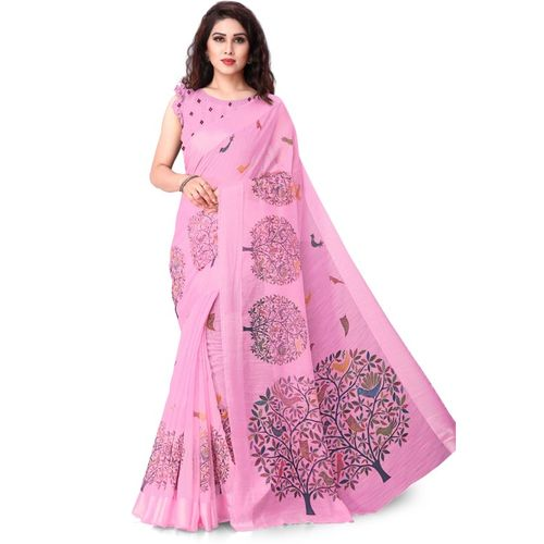 Mirchi Fashion Printed Fashion Cotton Blend, Polycotton Saree(Pink)