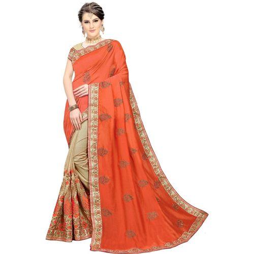 Trijal Fab Embroidered Bollywood Silk Blend Saree(Orange)