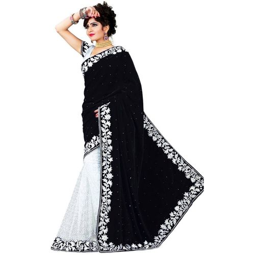 Anugrah Textile Embellished Daily Wear Velvet, Cotton Blend Saree(White, Black)