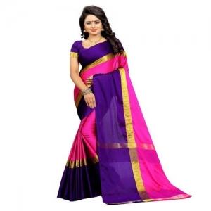 HITESH ENTERPRISE Solid Fashion Cotton Silk Saree(Blue)