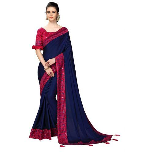 Aashvi Creation Embroidered, Solid Fashion Silk Blend, Poly Silk Saree(Dark Blue)