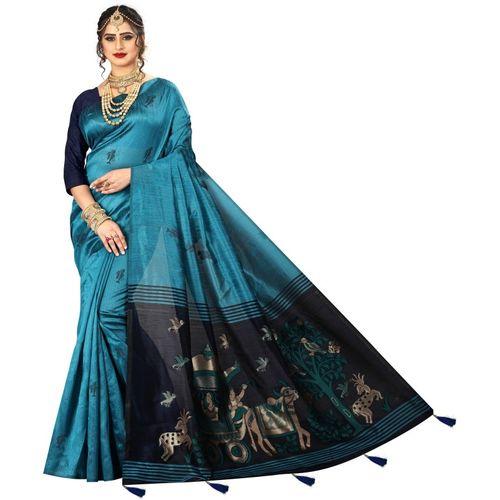 Being Banarasi Woven Fashion Silk Blend, Jacquard Saree(Light Blue)
