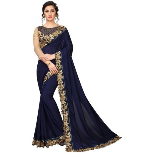 xenilla Embroidered, Solid Bollywood Silk Blend Saree(Blue)