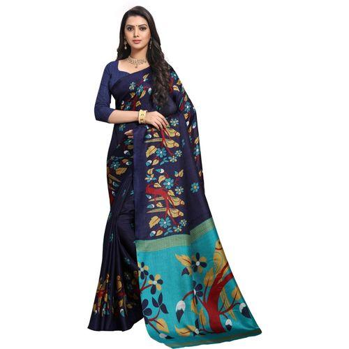 Anand Printed, Animal Print, Floral Print Bhagalpuri Silk Blend Saree(Blue)