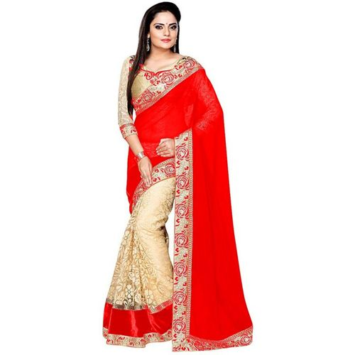 Shree Creation Embellished Bollywood Cotton Blend, Poly Georgette Saree(Red)