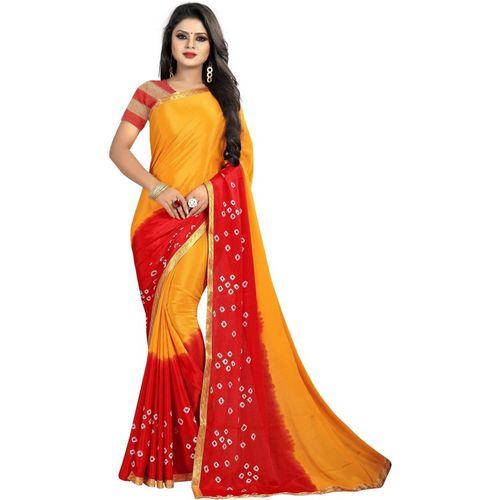 Laheja Self Design Bandhani Poly Silk Saree(Yellow)