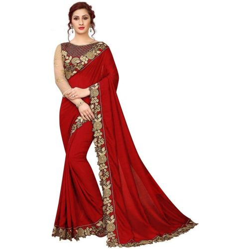 xenilla Embroidered, Solid Bollywood Silk Blend Saree(Red)