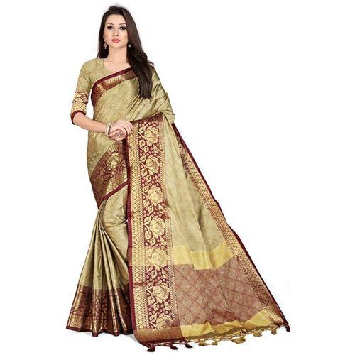 VR2ENTERPRISE Self Design Banarasi Silk Blend, Cotton Silk Saree(Cream)