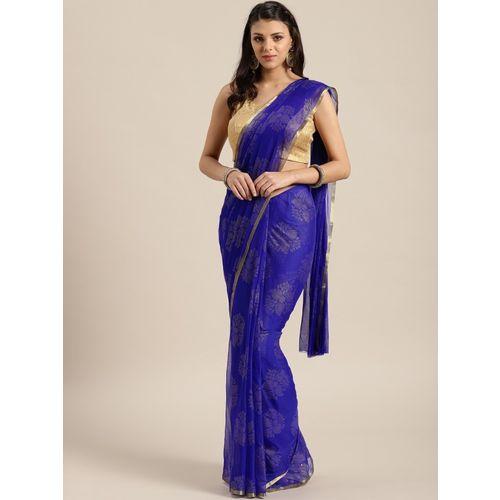 Ratnavati Embellished Fashion Chiffon Saree(Blue)