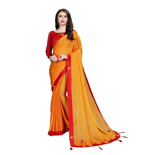 Sanku Fashion Embellished, Solid Bollywood Chiffon, Poly Silk Saree(Yellow)