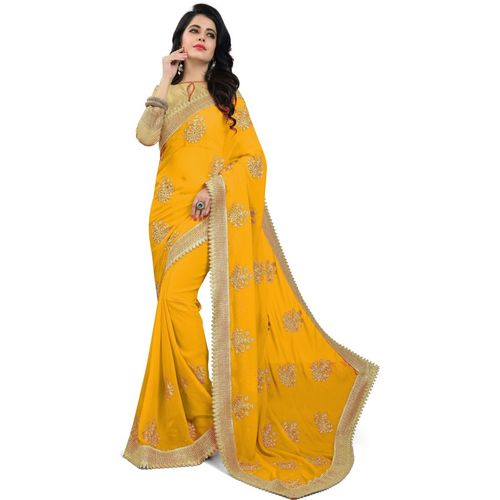 Om Shantam Sarees Embroidered Bollywood Poly Georgette Saree(Yellow)