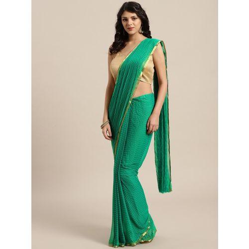 Ratnavati Self Design Fashion Chiffon Saree(Green)