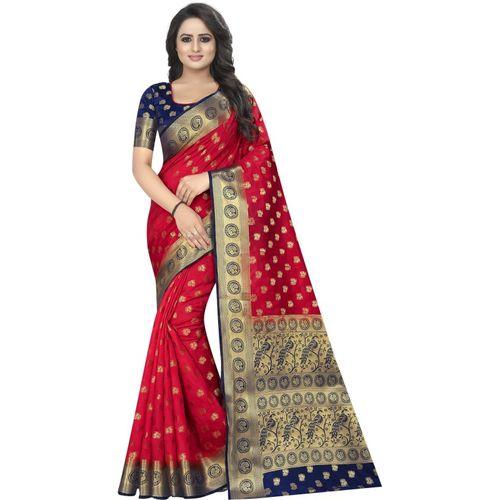 PERFECT WEAR Self Design Kanjivaram Cotton Silk Saree(Red)