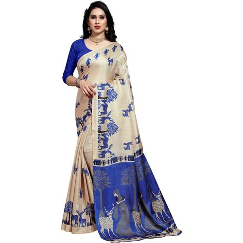 Anand Animal Print Bhagalpuri Silk Blend Saree(Blue)
