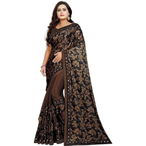 Jiyanfashionretail Printed Fashion Lycra Blend Saree(Brown)