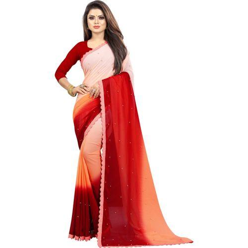 fashion Day Self Design Bollywood Georgette Saree(Multicolor)