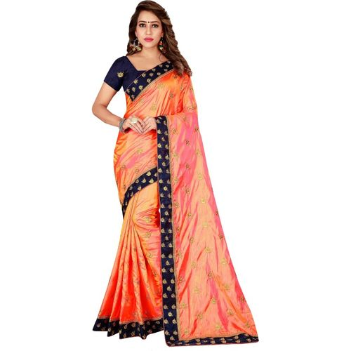 Kuki Embroidered Kanjivaram Poly Silk Saree(Orange)