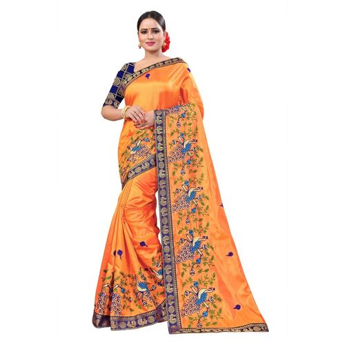 ecolors fab Embroidered Fashion Silk Blend, Pure Silk Saree(Orange)