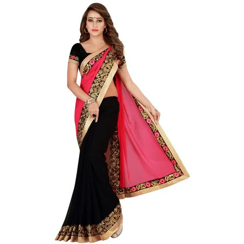 Kuki Fashion Embroidered Daily Wear Poly Georgette Saree(Pink)