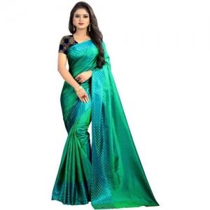 AVSAR TRENDZ Solid, Checkered Fashion Pure Silk Saree(Green)