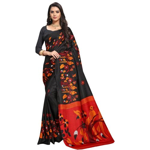Anand Printed, Animal Print, Floral Print Bhagalpuri Silk Blend Saree(Black)