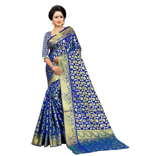 Ek-Pal Woven Banarasi Poly Silk Saree(Blue)