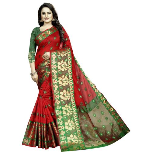 RadadiyaTRD Self Design, Woven, Floral Print Banarasi Silk Blend, Jacquard Saree(Red)