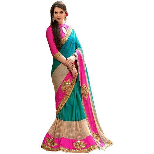 Active Applique Fashion Poly Silk Saree(Multicolor)