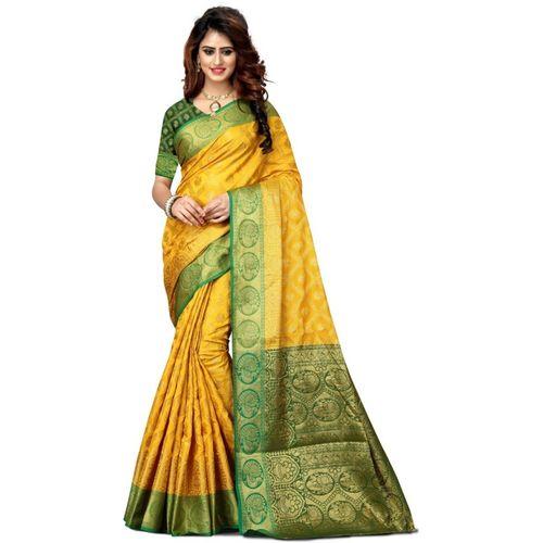 Shoppershopee Woven Paithani Art Silk, Poly Silk Saree(Yellow)